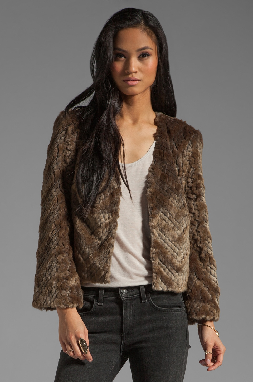 Trina Turk Chevron Faux Fur Heavenly Coat in Taupe