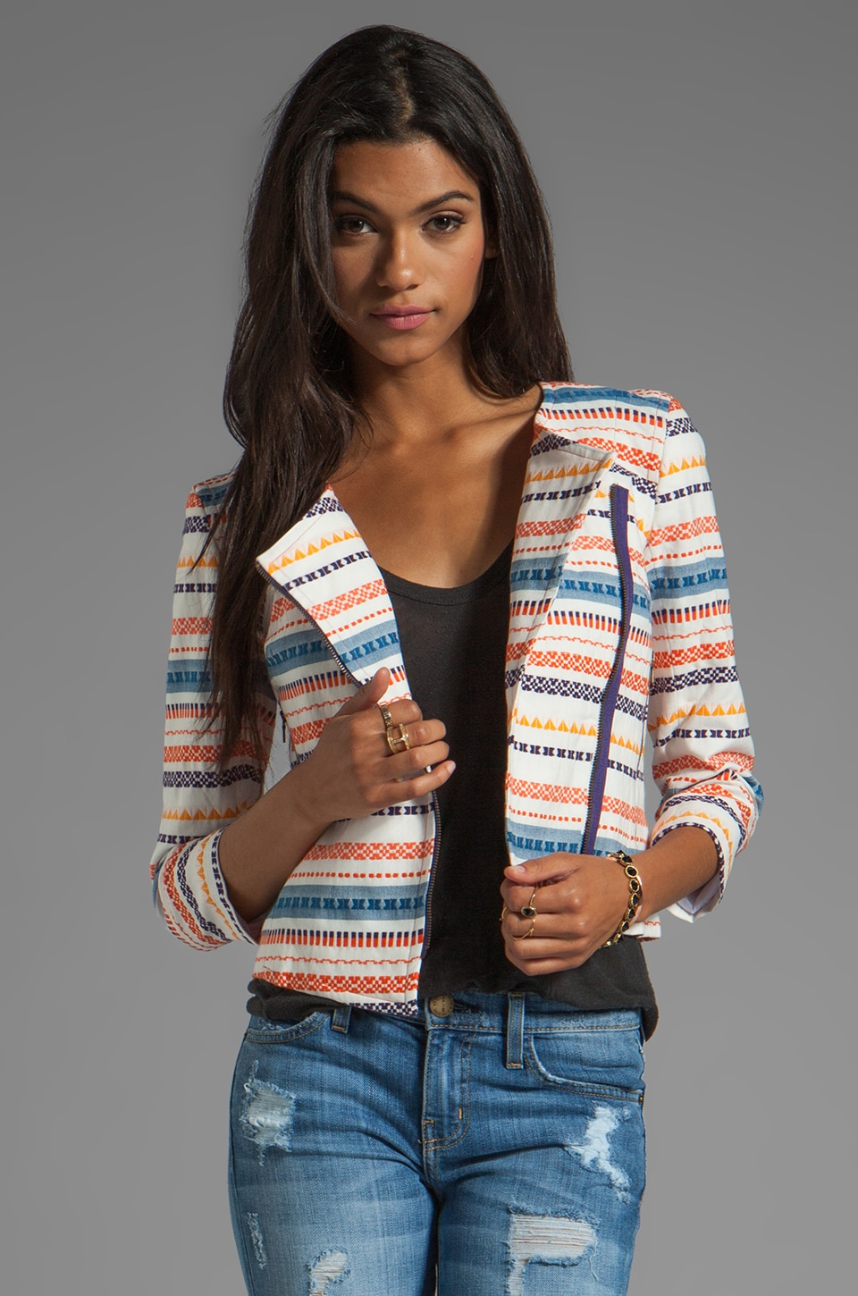 Trina Turk Berber Stripe Beatrix Jacket in Multi