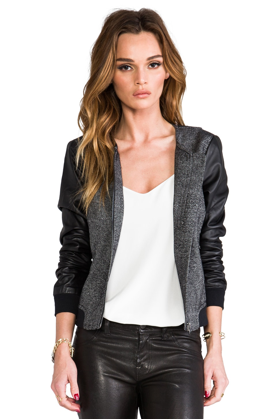 Trina Turk Patchwork Weave Slugger Jacket in Black/Leather