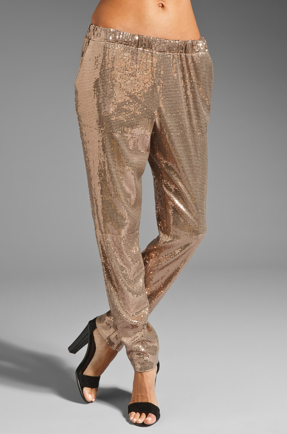 Trina Turk Sequin Jersey Glacier Pant in Taupe