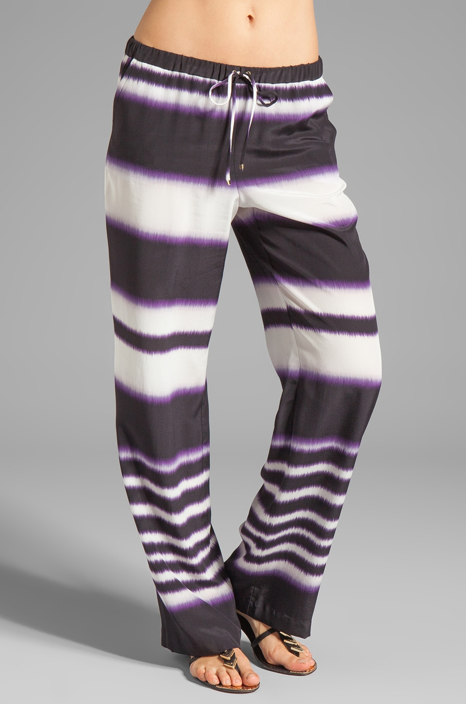 Trina Turk Ink Stripe Ikat Yuma Pant in Black Plum