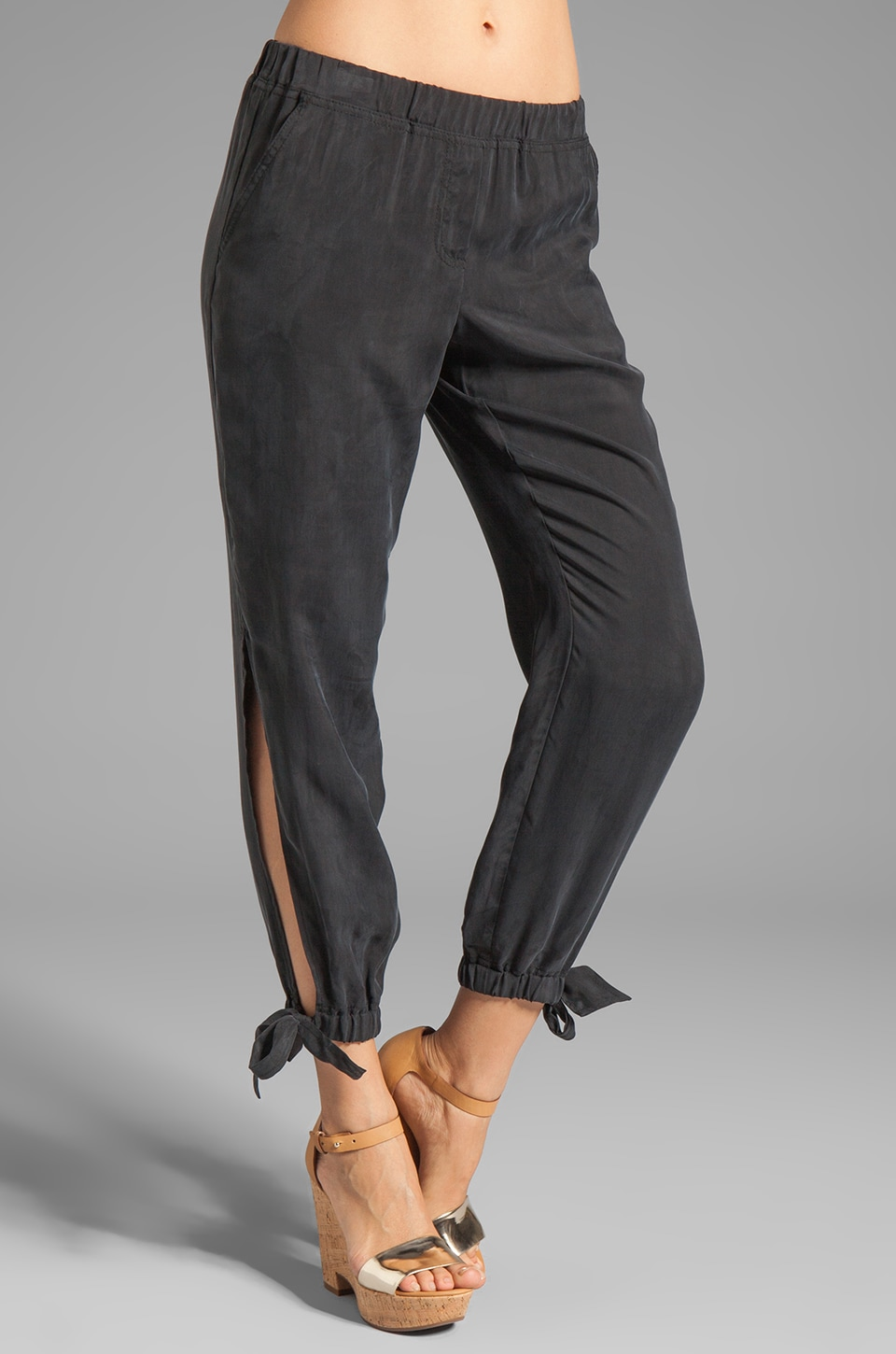 Trina Turk Liquid Washed Twill Cardolino Pant in Black