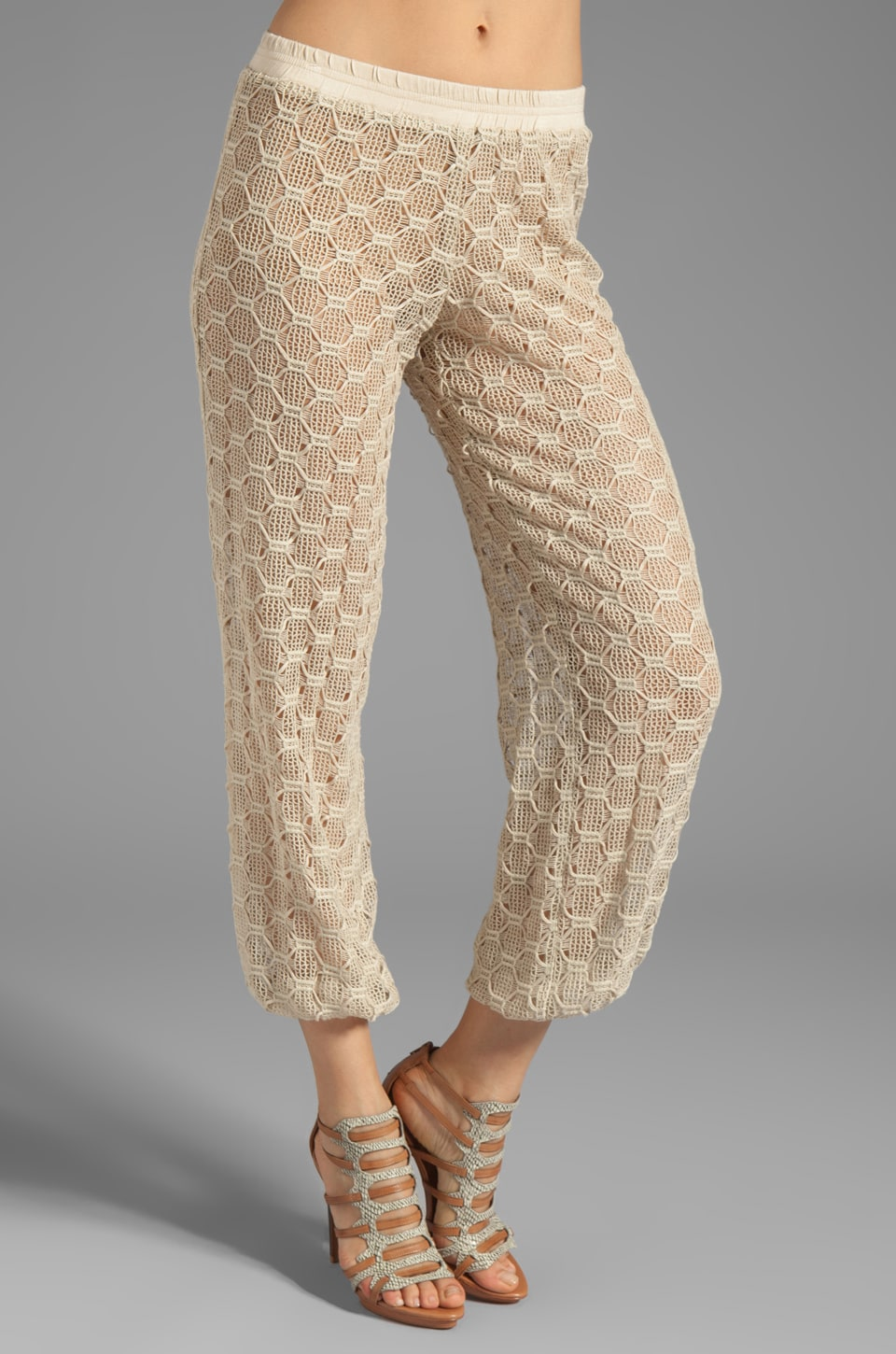 Trina Turk Hexagon Bonded Lace Lila Pant in Khaki