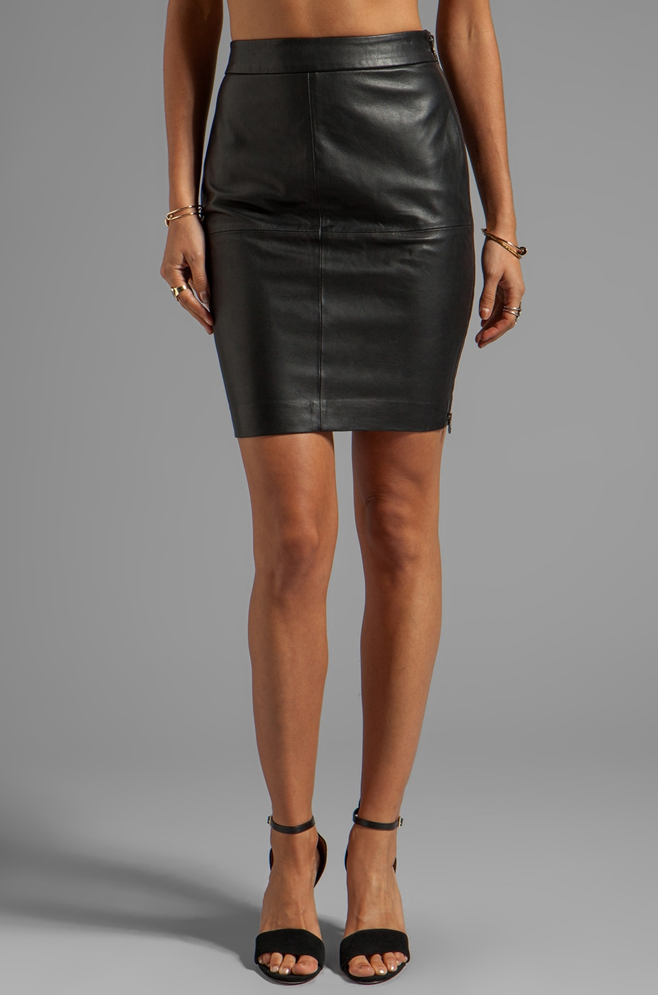 Trina Turk Soft Lamb Leather Sydney Skirt in Black