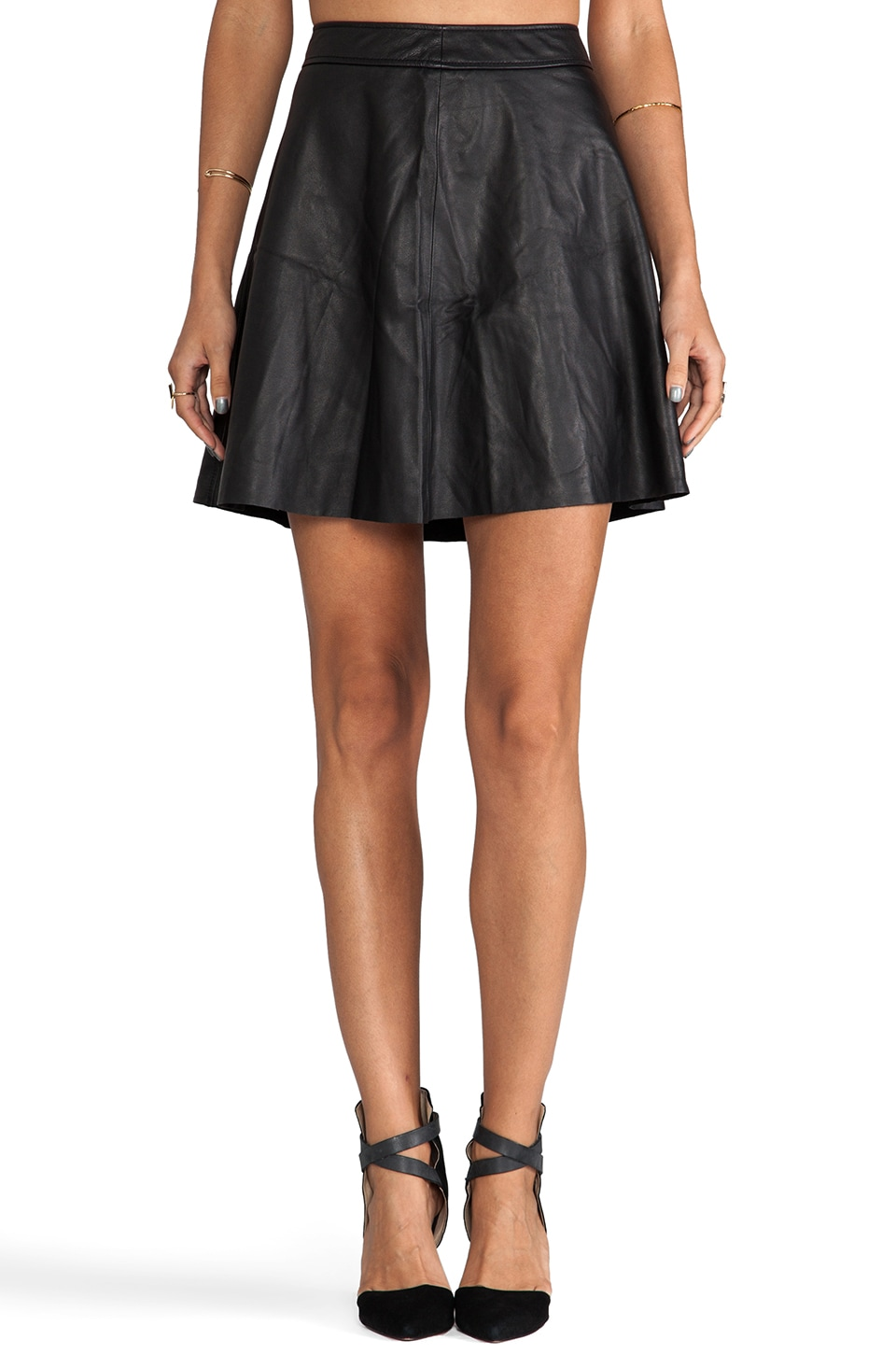 Trina Turk Soft Lamb Leather Lannie Skirt in Black