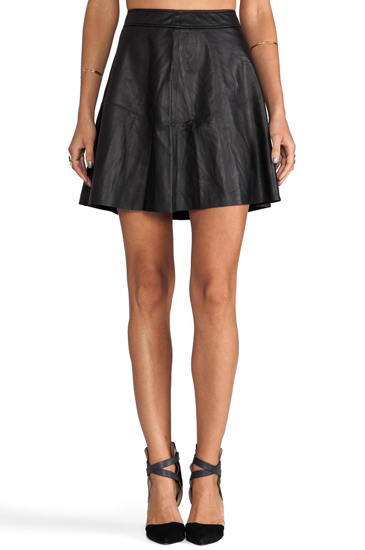 Trina Turk Soft Lamb Leather Lannie Skirt in Black