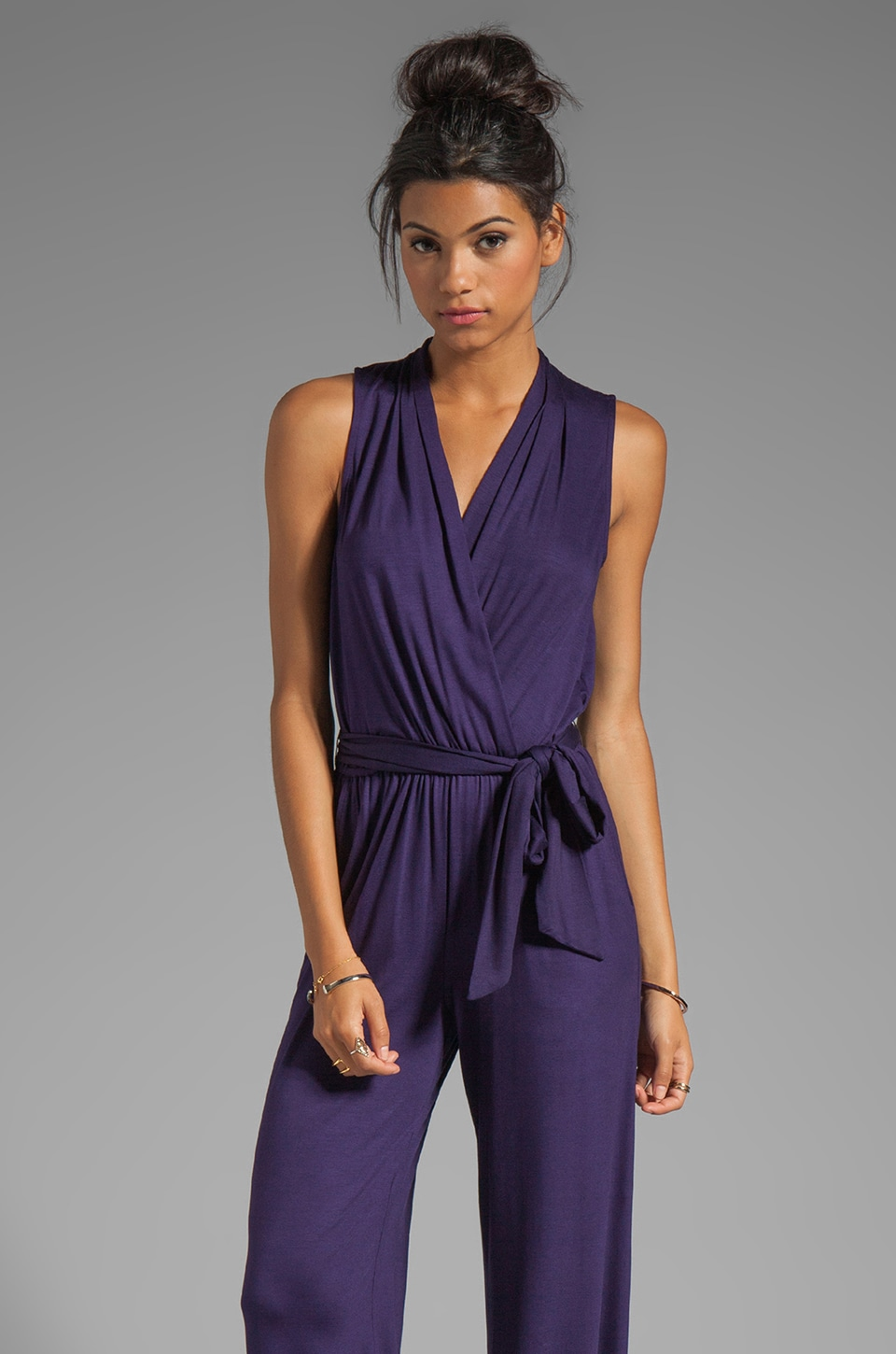 Trina Turk Must Have Jersey Marianela Jumpsuit in Black Plum