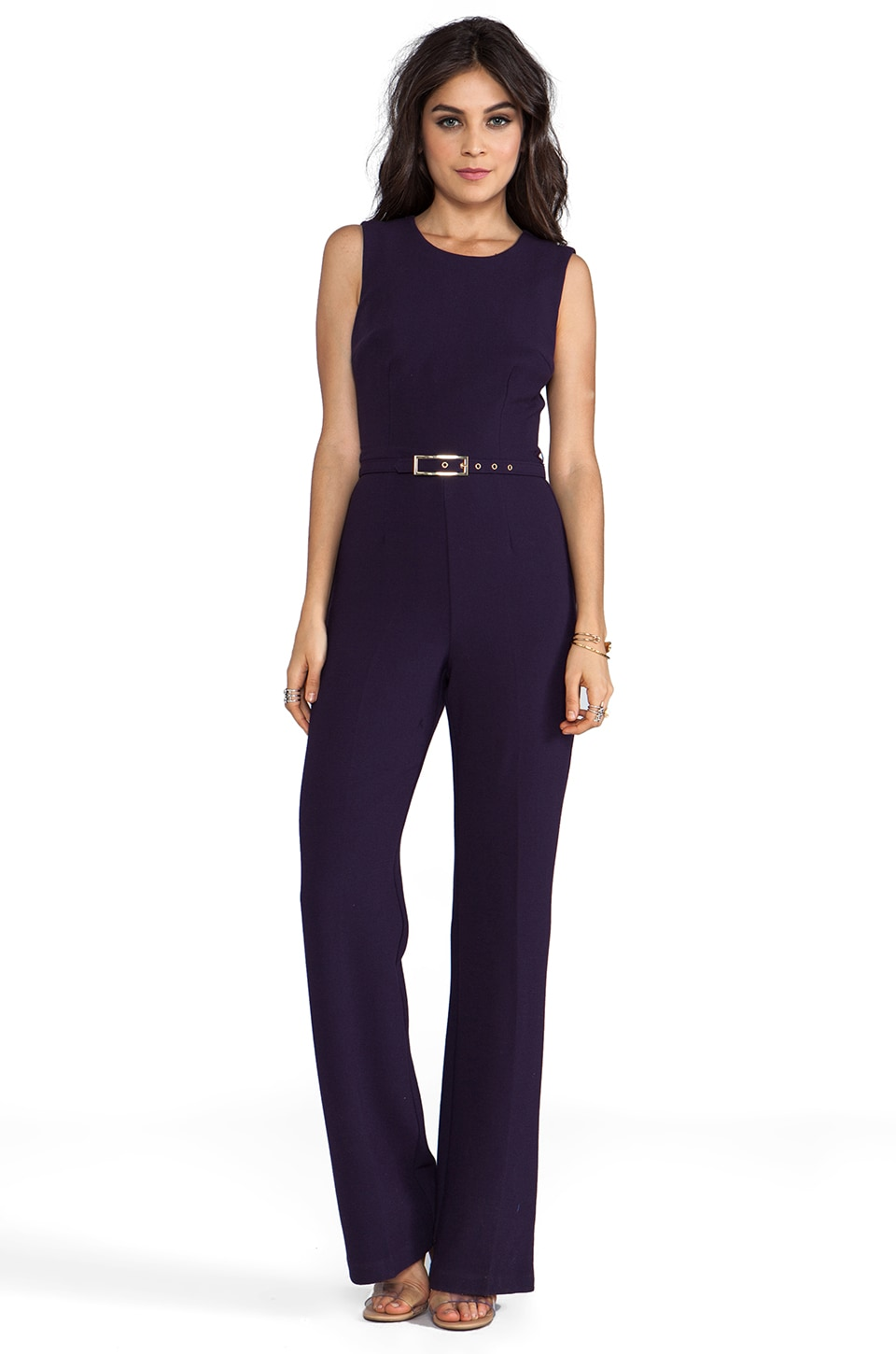 Trina Turk Double Crepe Luxe Jeanie Jumpsuit in Black Plum