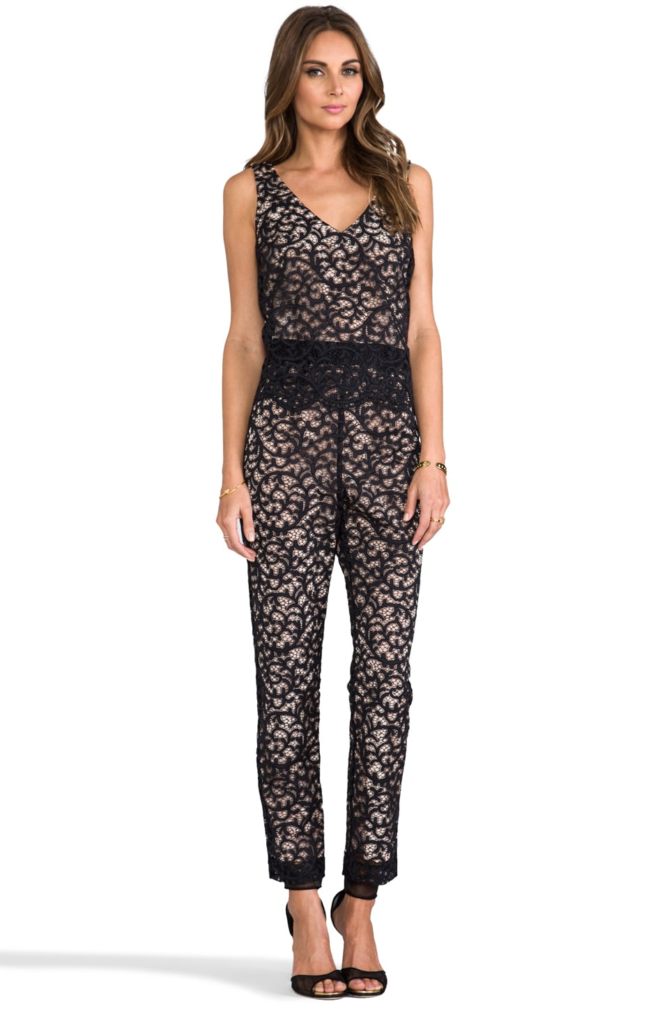 Trina Turk Zia Lace Jumpsuit in Black/Nude