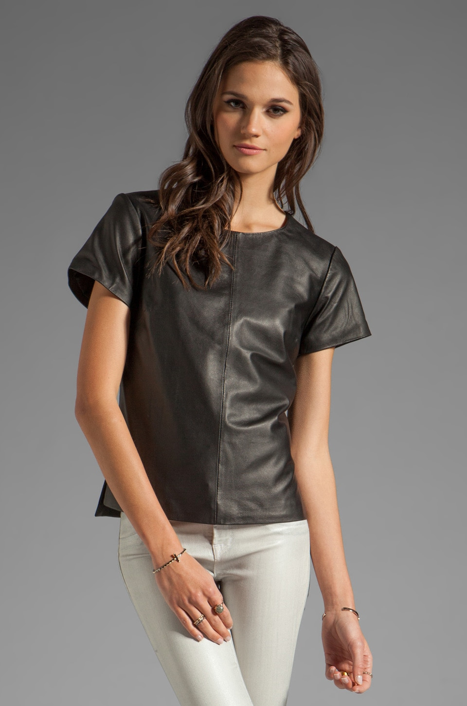 Trina Turk Drapey Leather Short Sleeve Top in Black