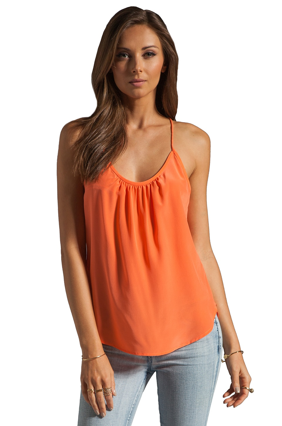 Trina Turk Solid Silk Skills Top in Orange Popsicle