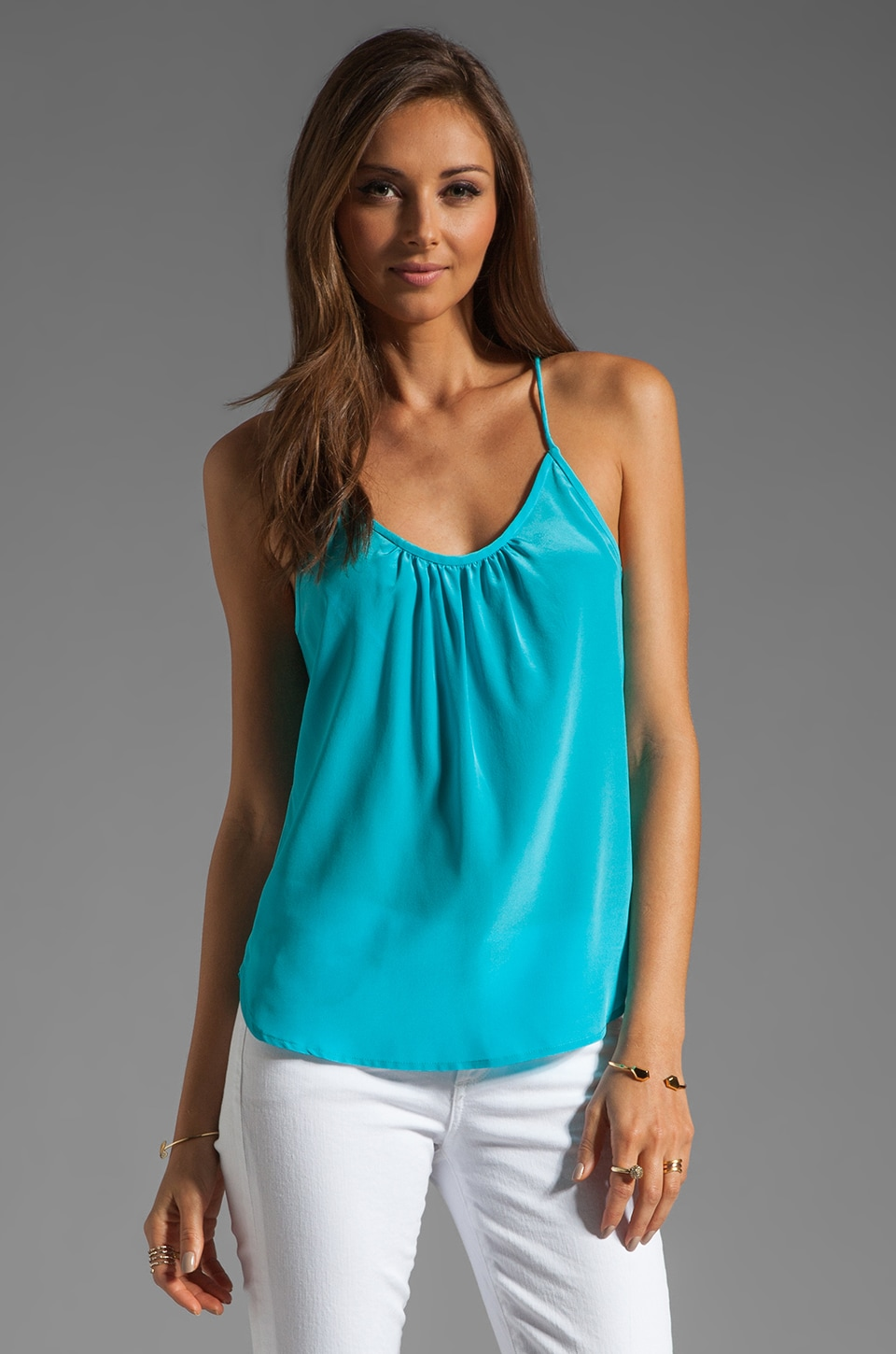 Trina Turk Solid Silk Skills Top in Biscayne Blue