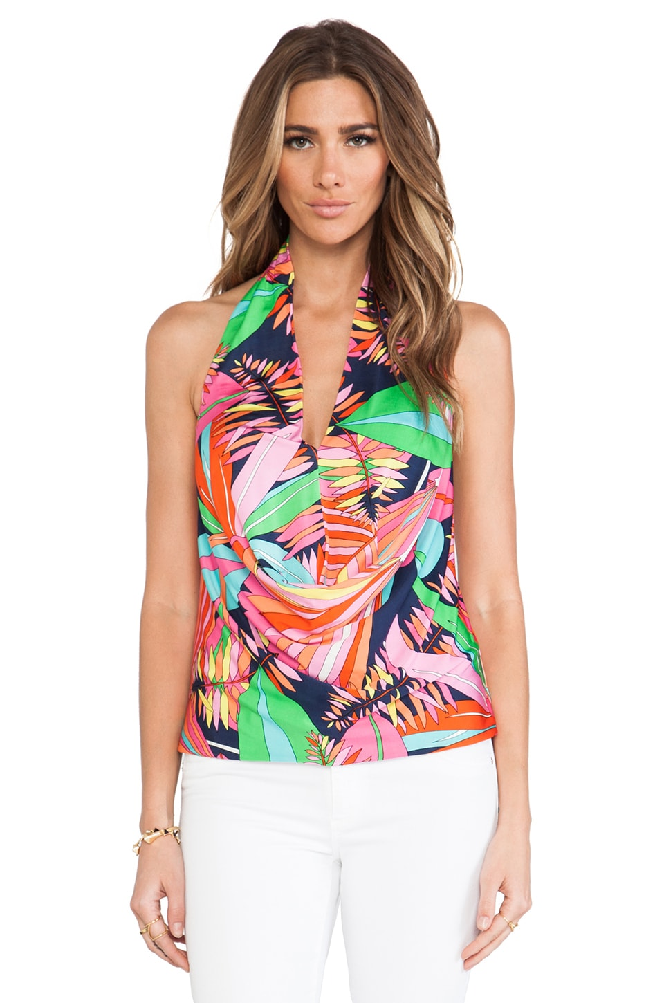 Trina Turk Biscayne Palm Lyrical Top in Multi