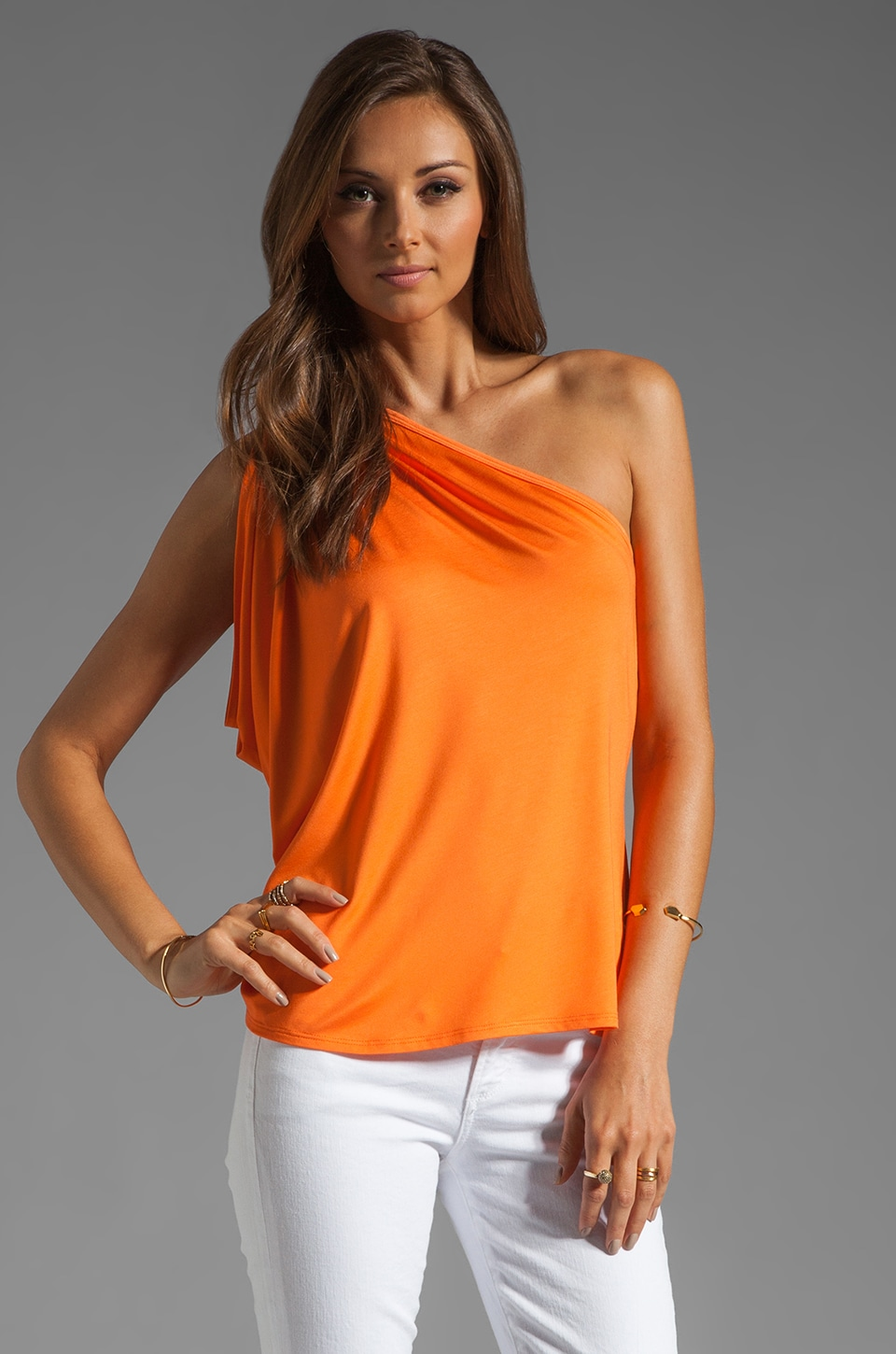 Trina Turk Must Have Jersey Highlight Top in Orange Popsicle
