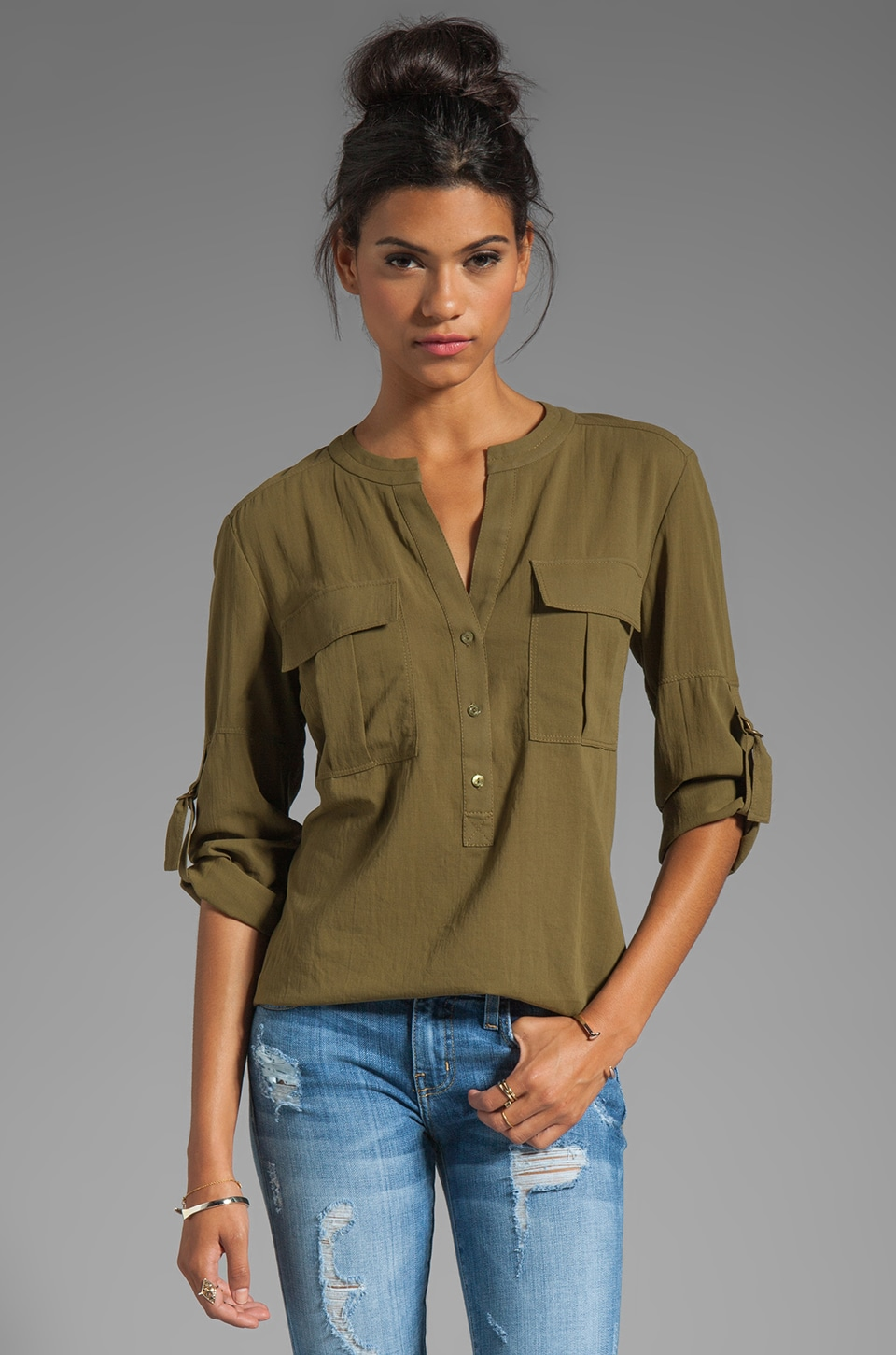 Trina Turk Cloud 9 Cotton mesh Jemison Blouse in Olive