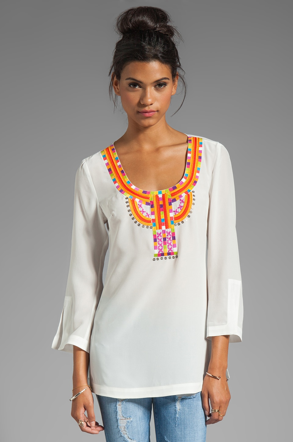 Trina Turk Silde Crepe Shannen Tunic in White