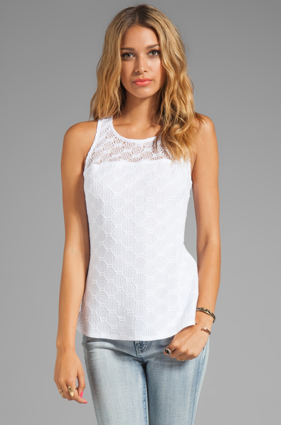 Trina Turk Hexagon Open Lace Deanna Top in Whitewash