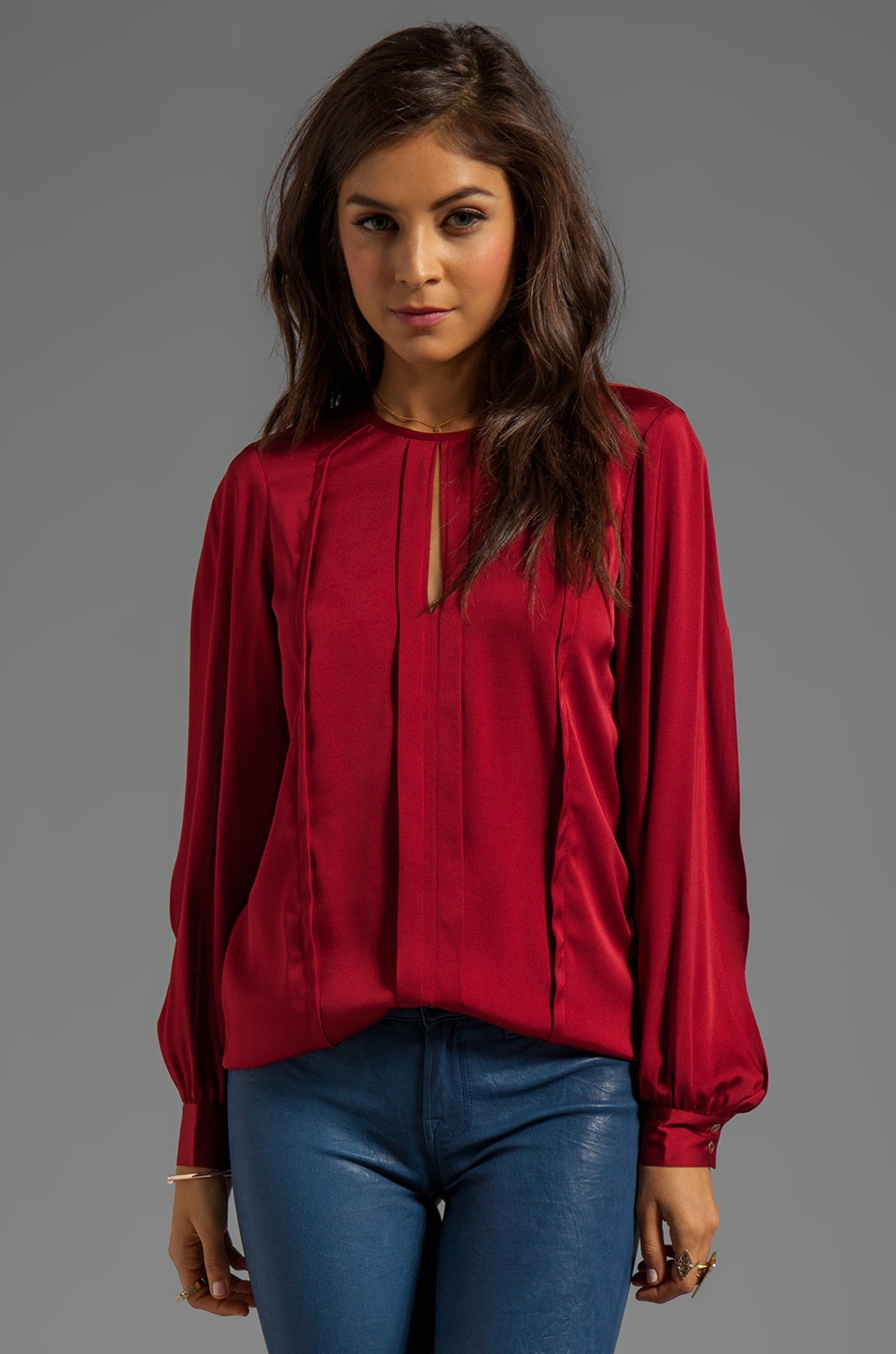 Trina Turk Essential Georgette Maeven Blouse in Pinot