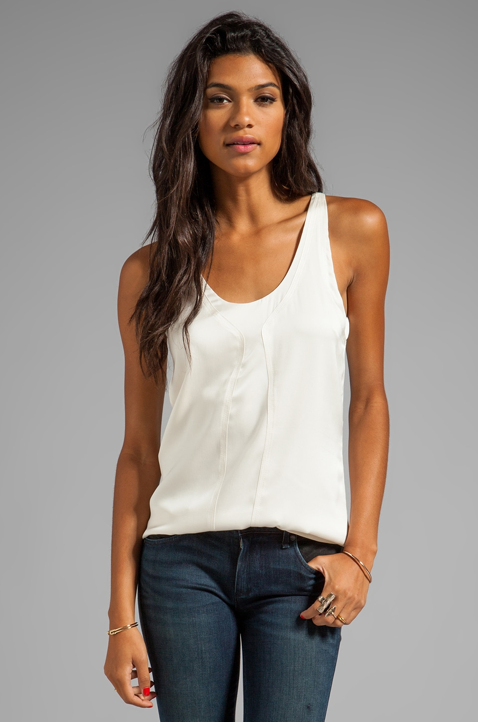 Trina Turk Essential Georgette Vontaine Tank in Ivory