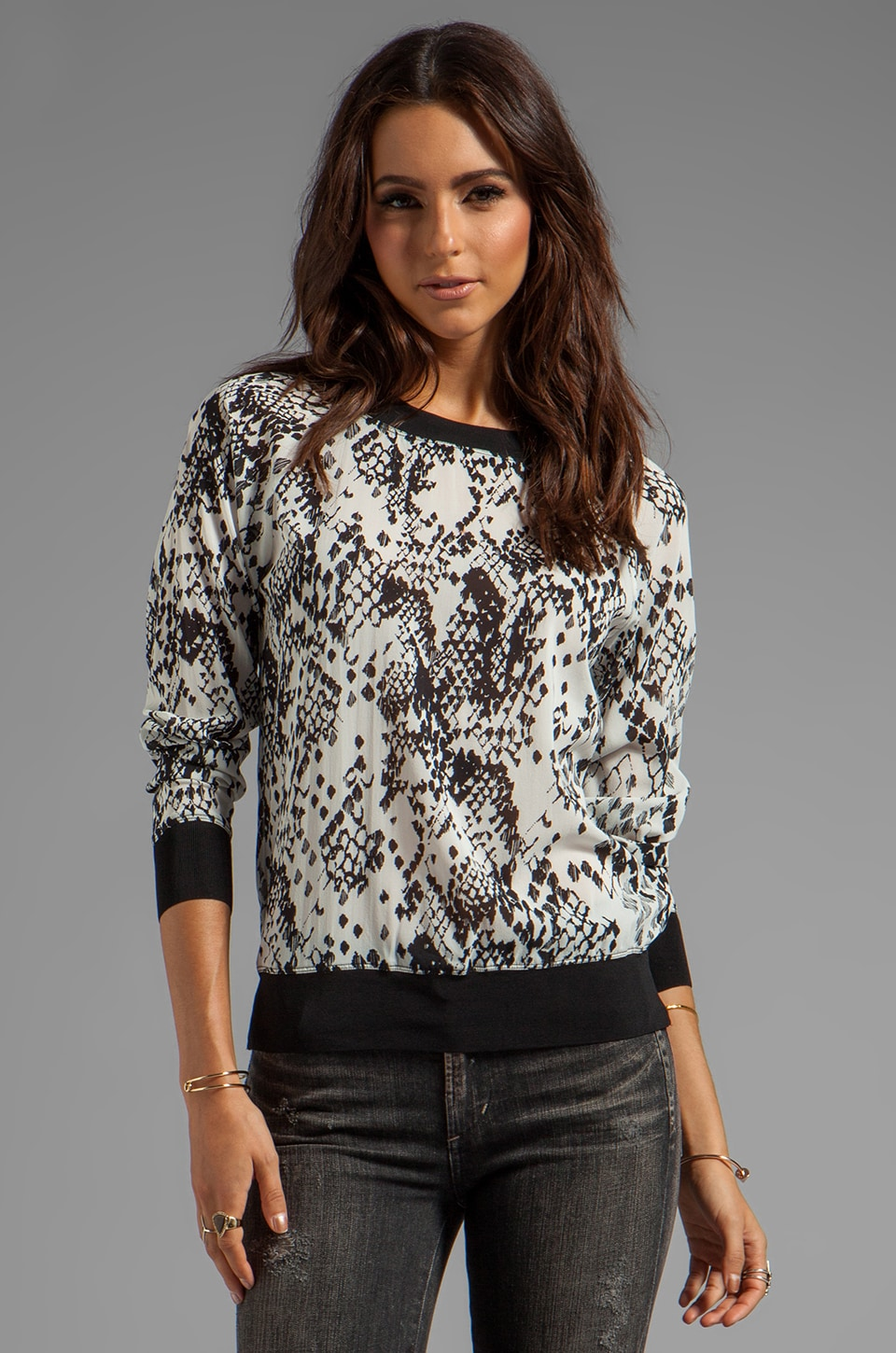Trina Turk Pretty Python Georgette Hazel Top in Black
