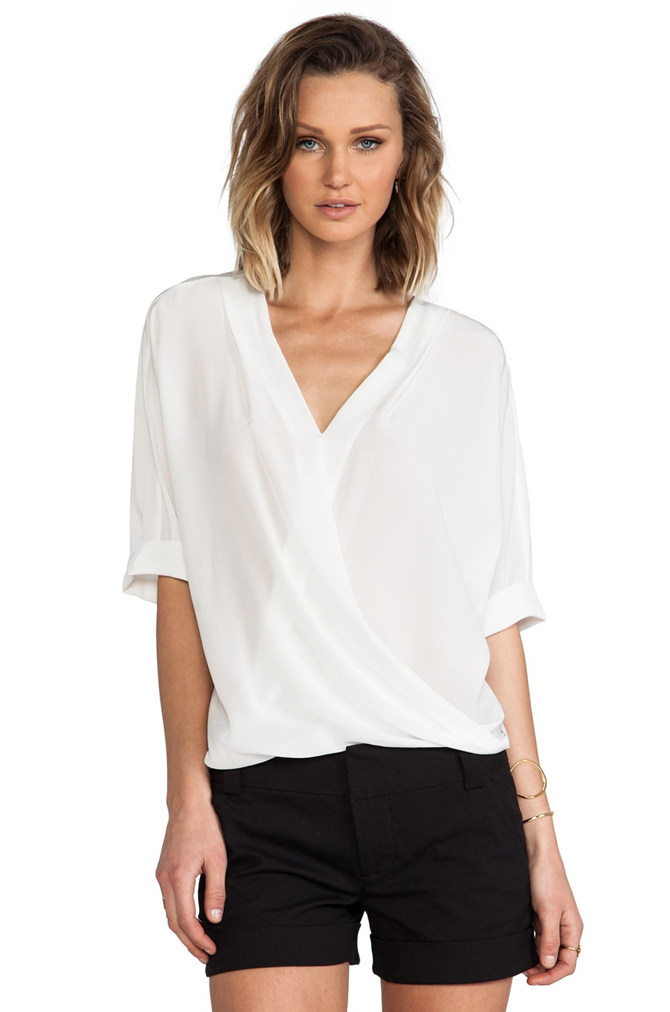 Trina Turk Coral Top in Whitewash