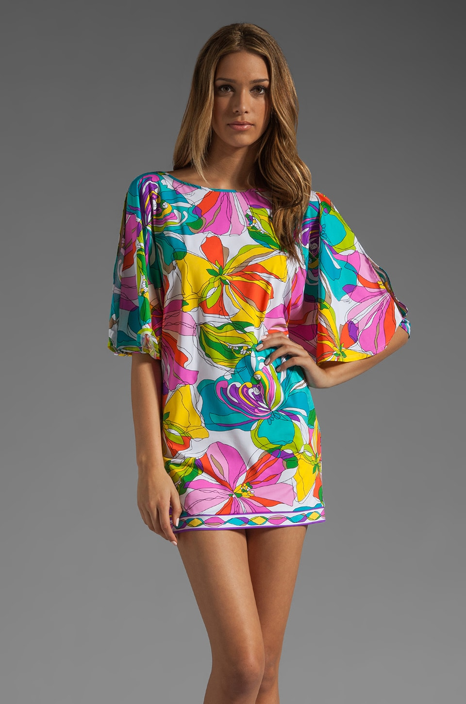 Trina Turk Kaleidoscope Floral Tunic Cover Up in Multi