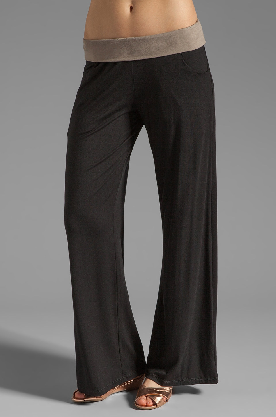 Trina Turk Mayan Color Block Wide Leg Pant in Black