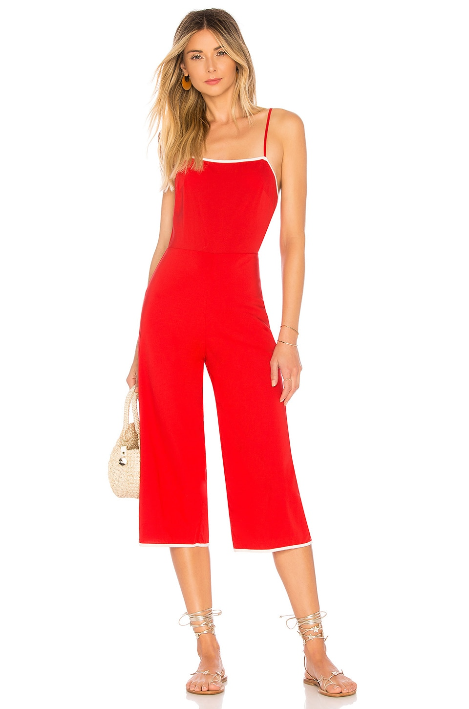 TULAROSA Isabeli Sleeveless Wide-Leg Cropped Jumpsuit in Red
