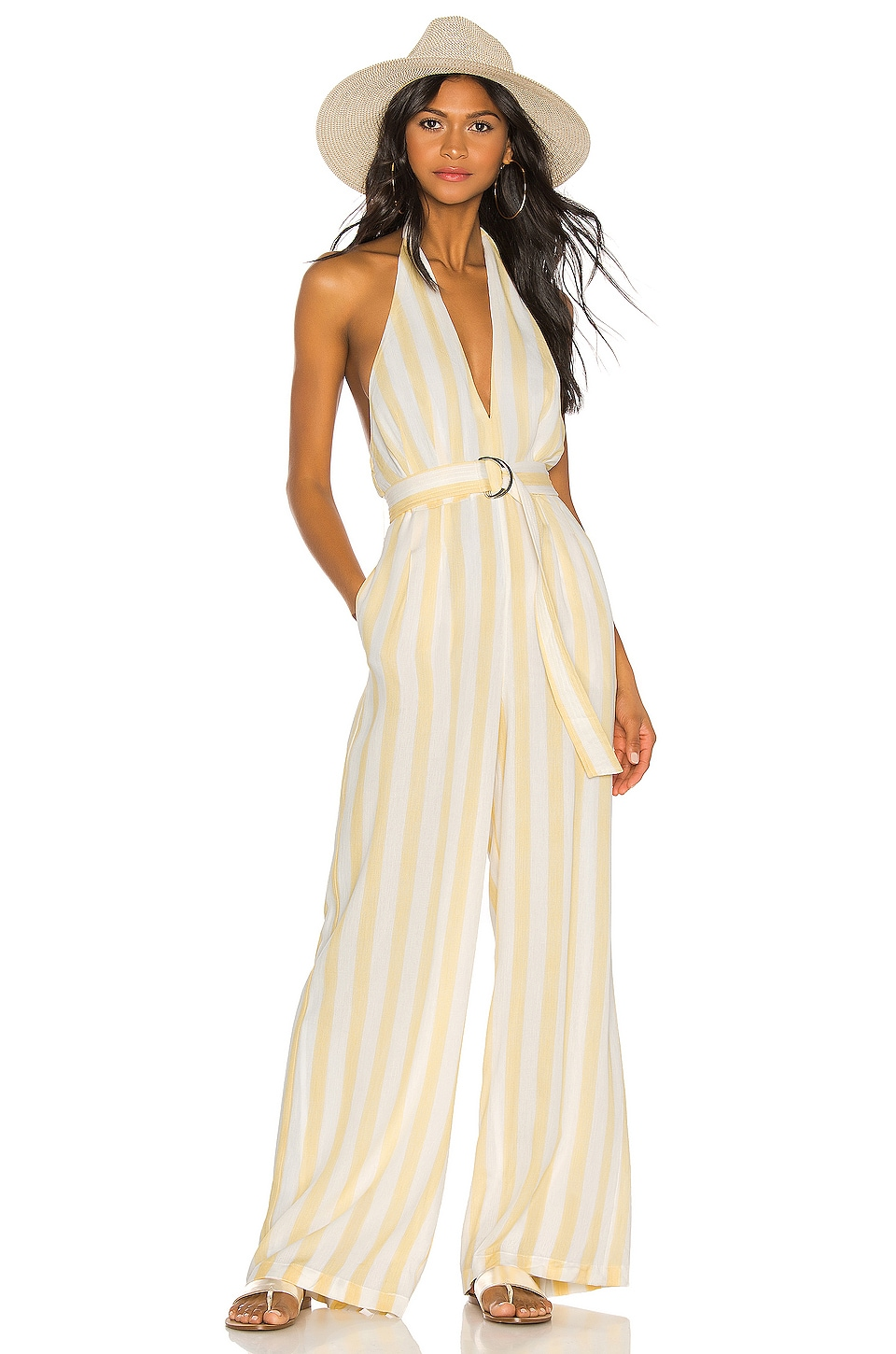 Tularosa Regina Jumpsuit in White & Yellow