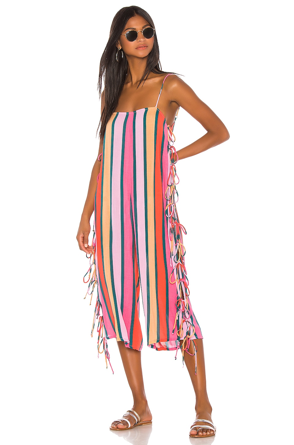Tularosa Bright Side Jumpsuit in Pink & Forest Stripe