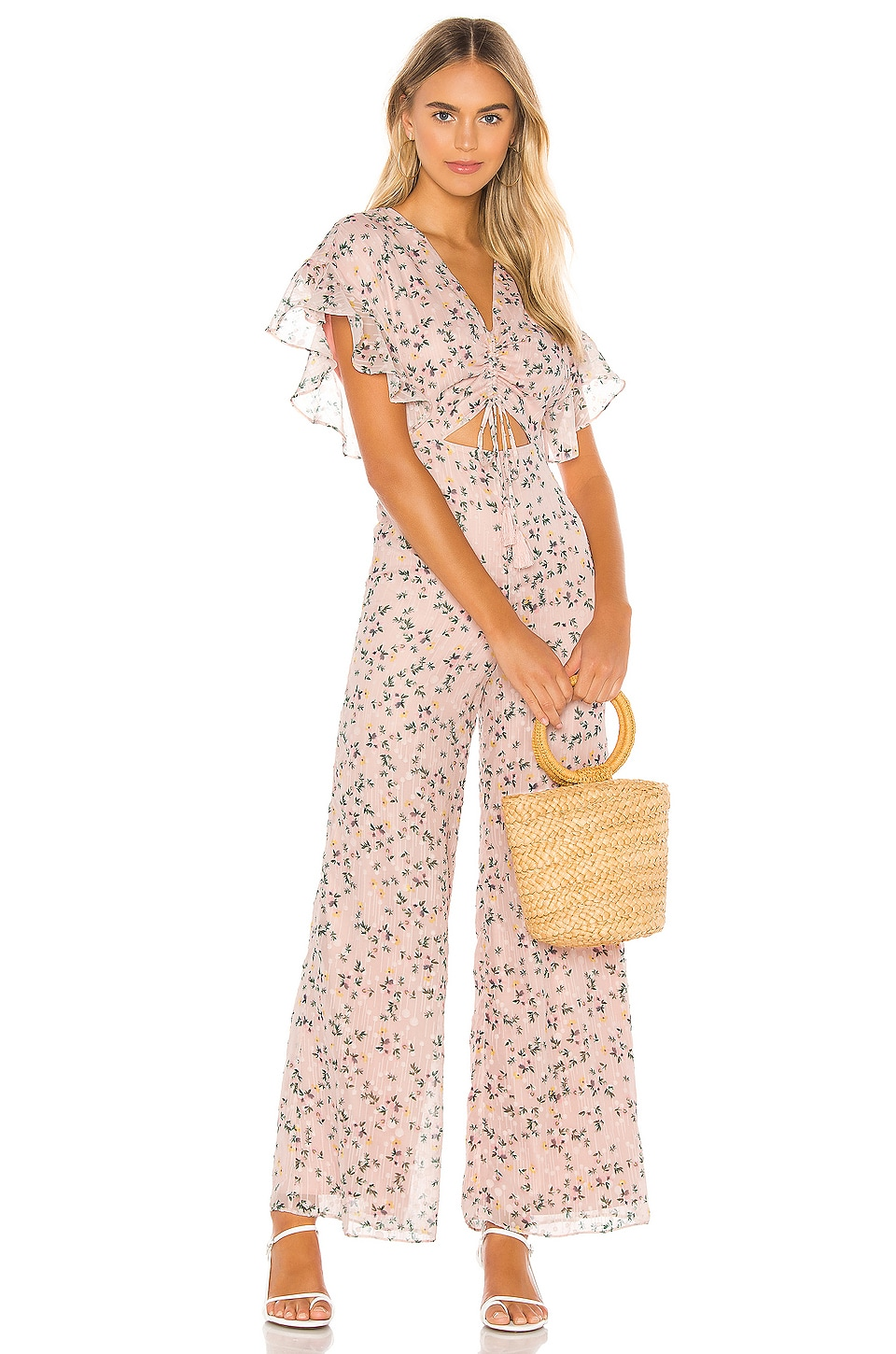 Tularosa Darla Jumpsuit in Pale Pink Floral