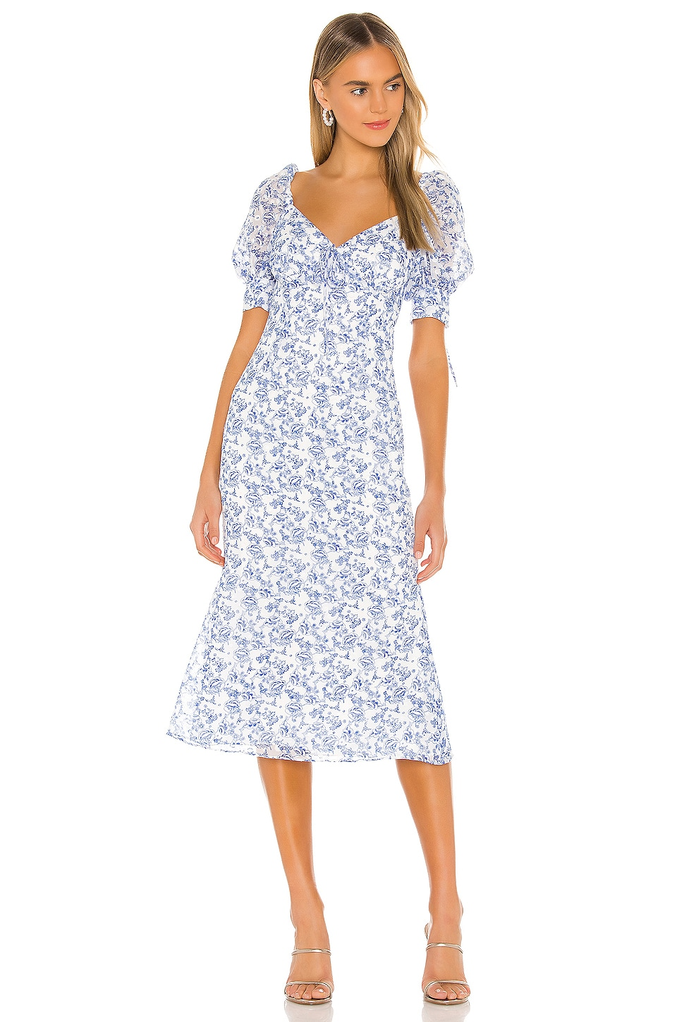 Tularosa Liam Dress in Country Blue Toile