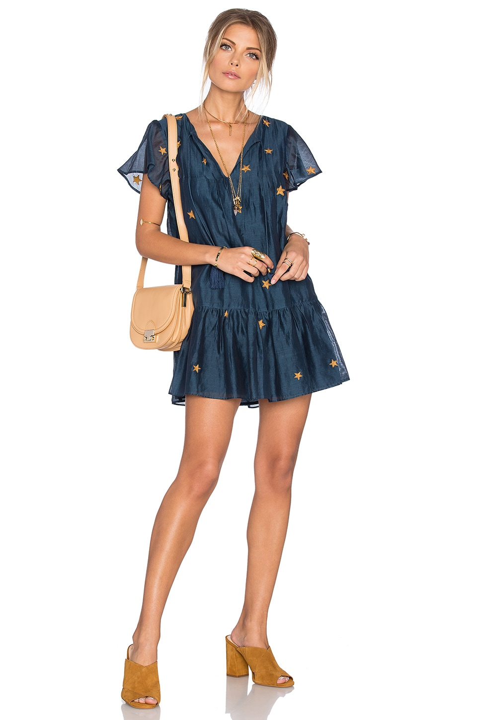 Tularosa Carson Dress in Navy & Gold