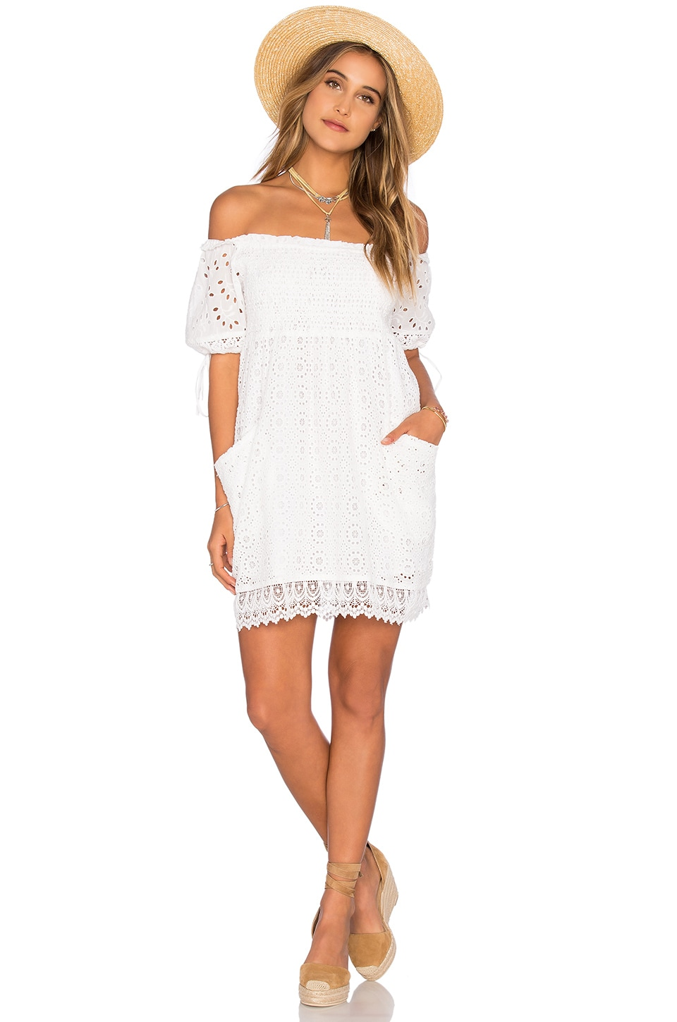 Tularosa Quinn Smocked Dress in Milk