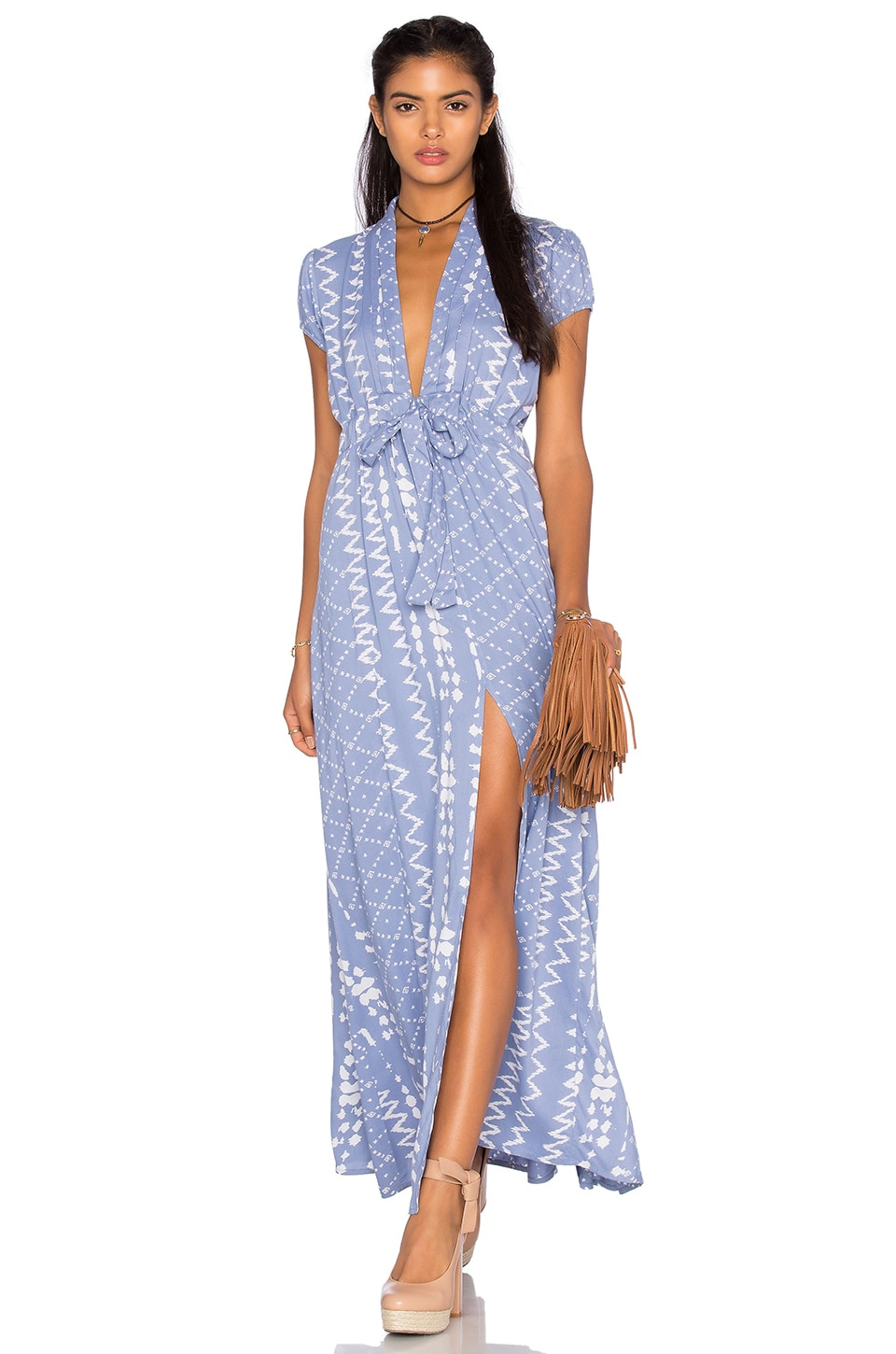 Tularosa Joel Plunge Dress in Chambray