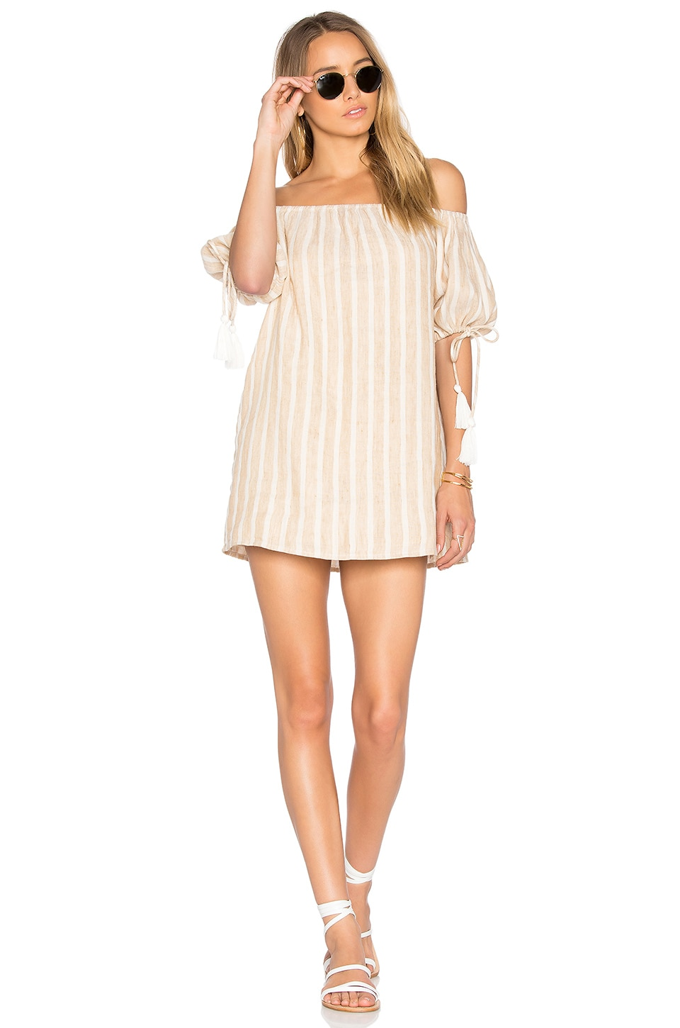 Tularosa x REVOLVE Kya Dress in Natural Stripe Linen