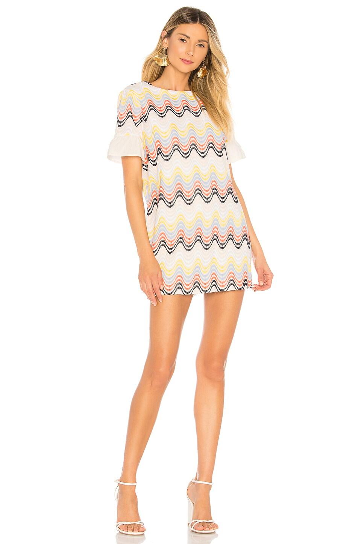 Tularosa Lexi Shift Dress in Rainbow Zigzag