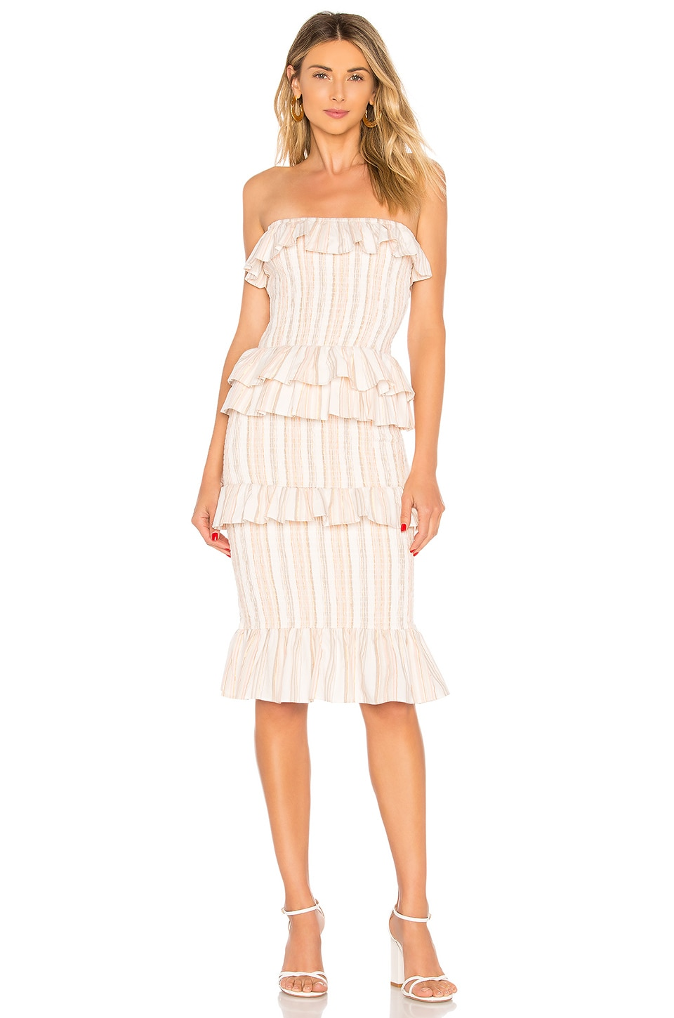 Tularosa Bailee Dress in Coral Multi Stripe