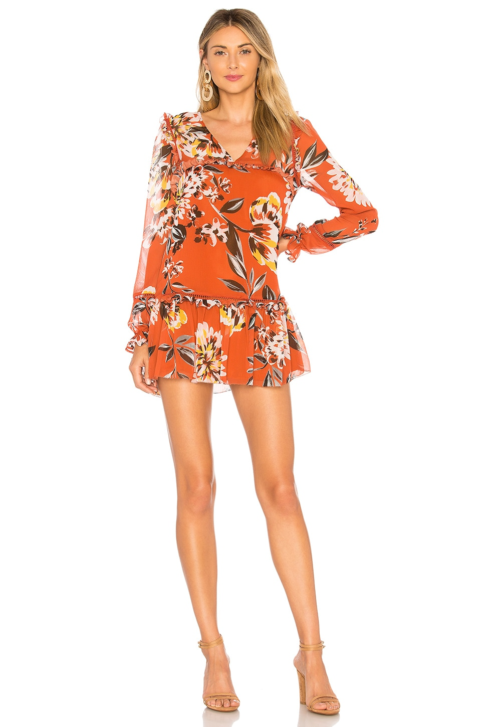Tularosa Lara Dress in Orange Dahlia Floral
