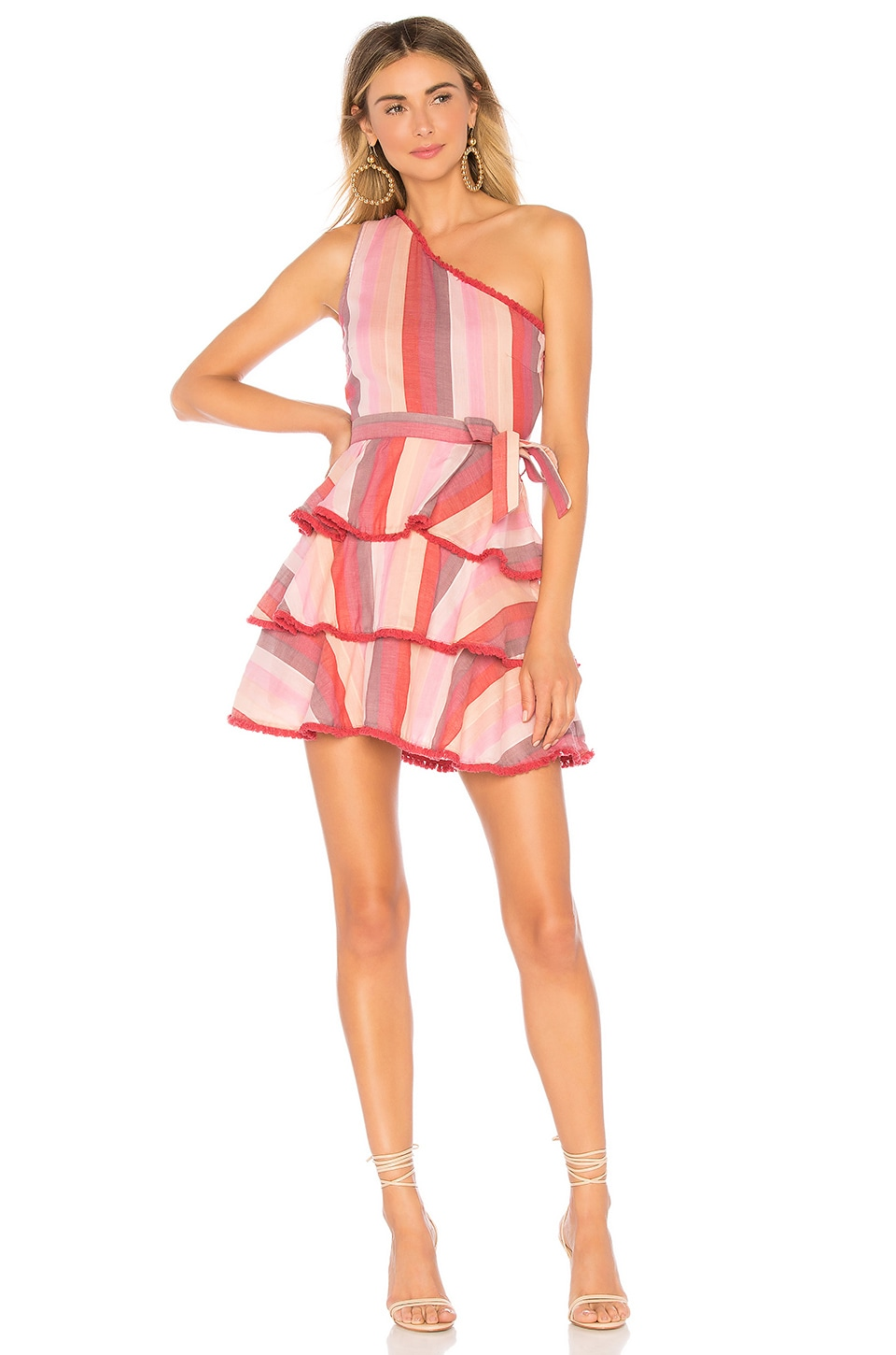 Tularosa Malibu Dress in Red Multi Stripe