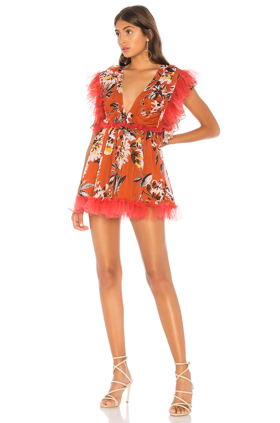 Tularosa Amelia Dress in Orange Dahlia Floral