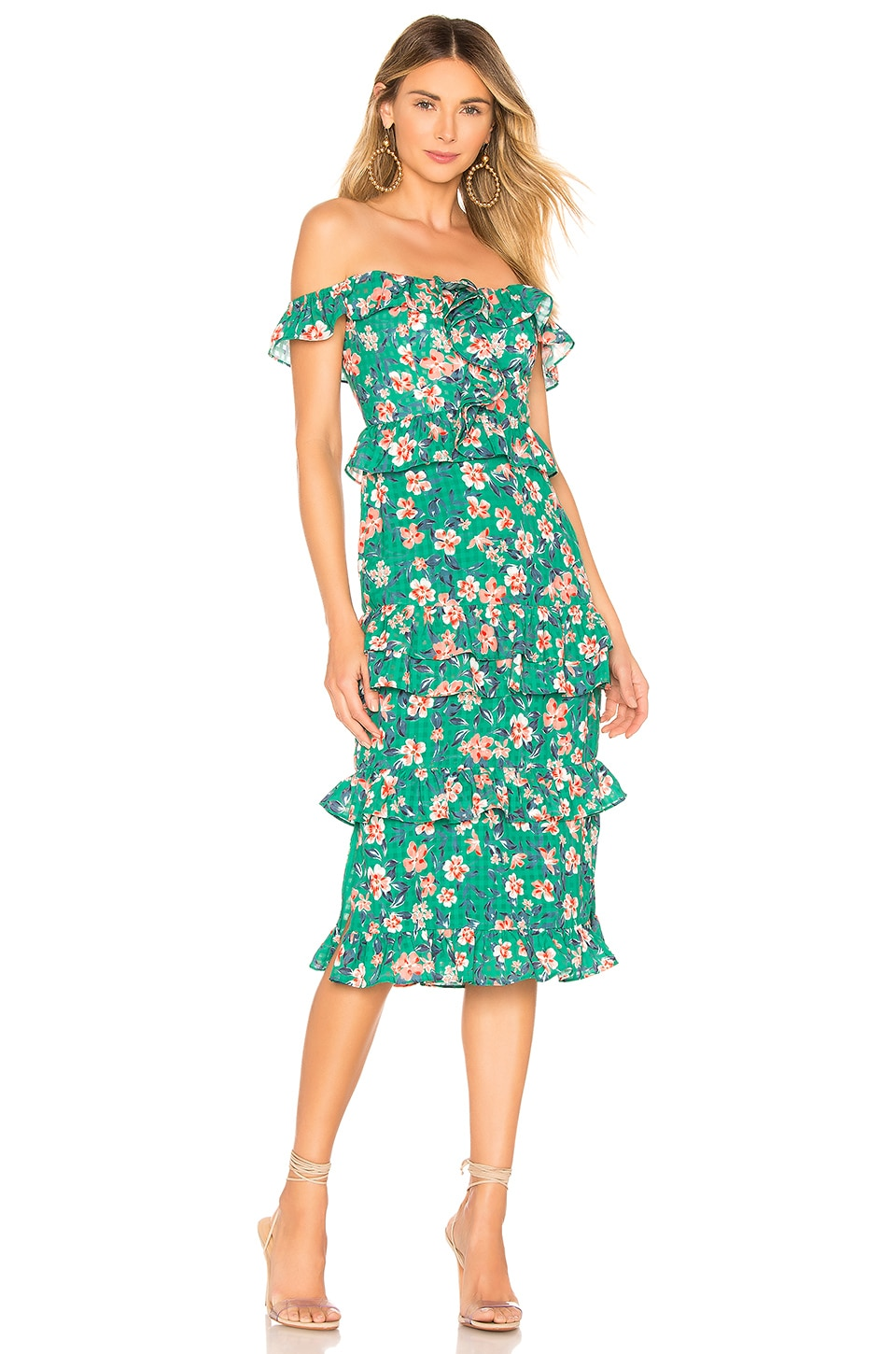 Tularosa Lily Dress in Kelly Green Floral