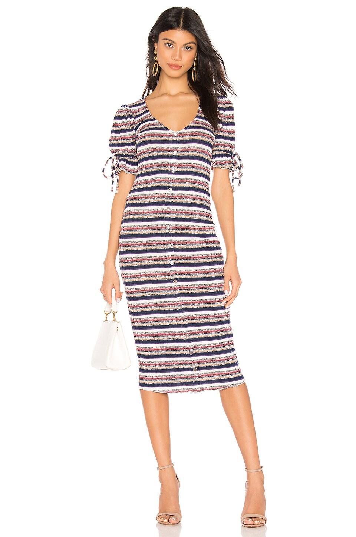 Tularosa Dallas Dress in Black Multi Stripe