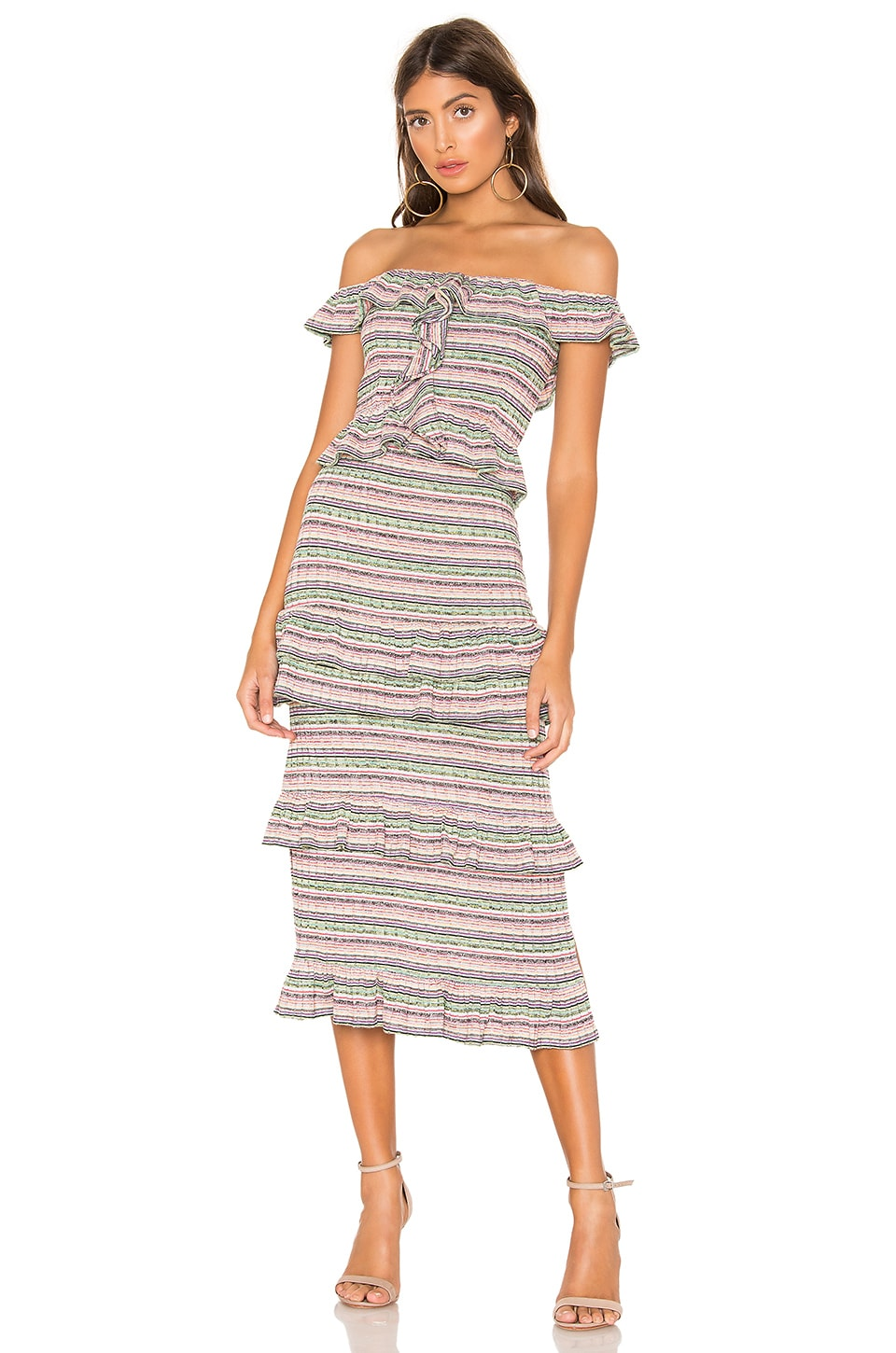 Tularosa Lily Dress in Sage Multi Stripe