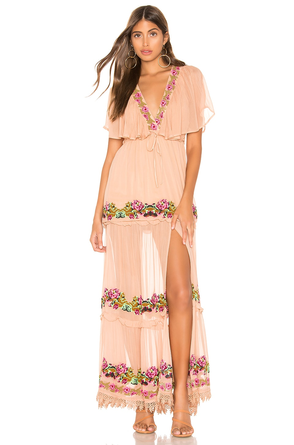 Tularosa Coraline Embroidered Dress in Nude