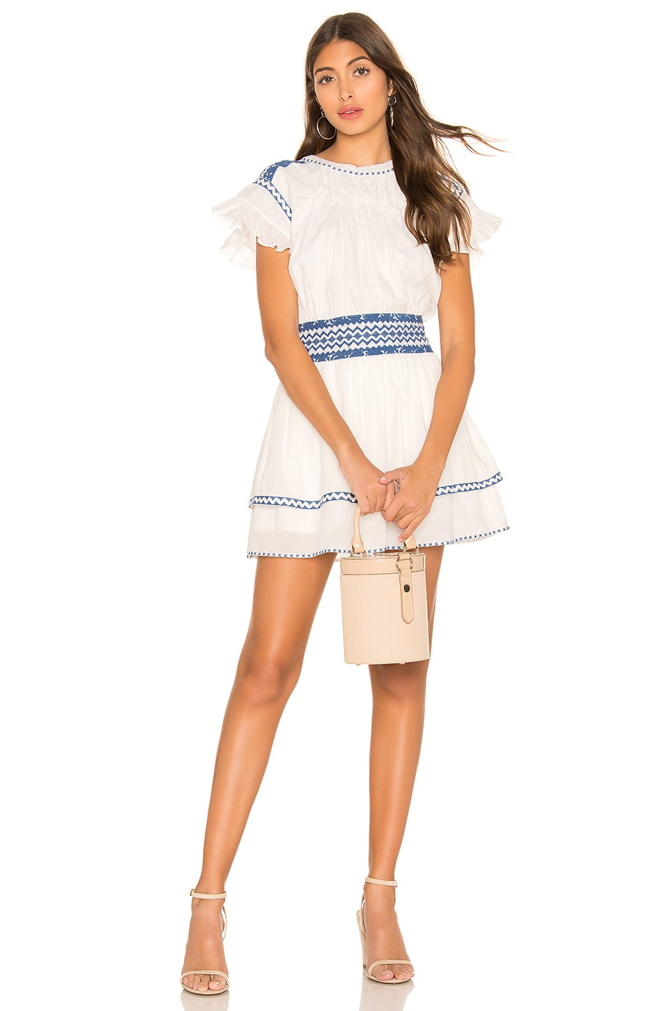 Tularosa Brielle Dress in Ivory & Blue