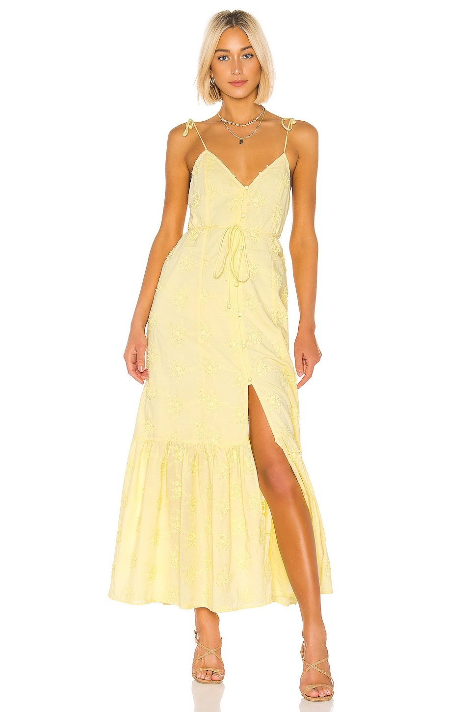 Tularosa Villa Dress in Pastel Yellow