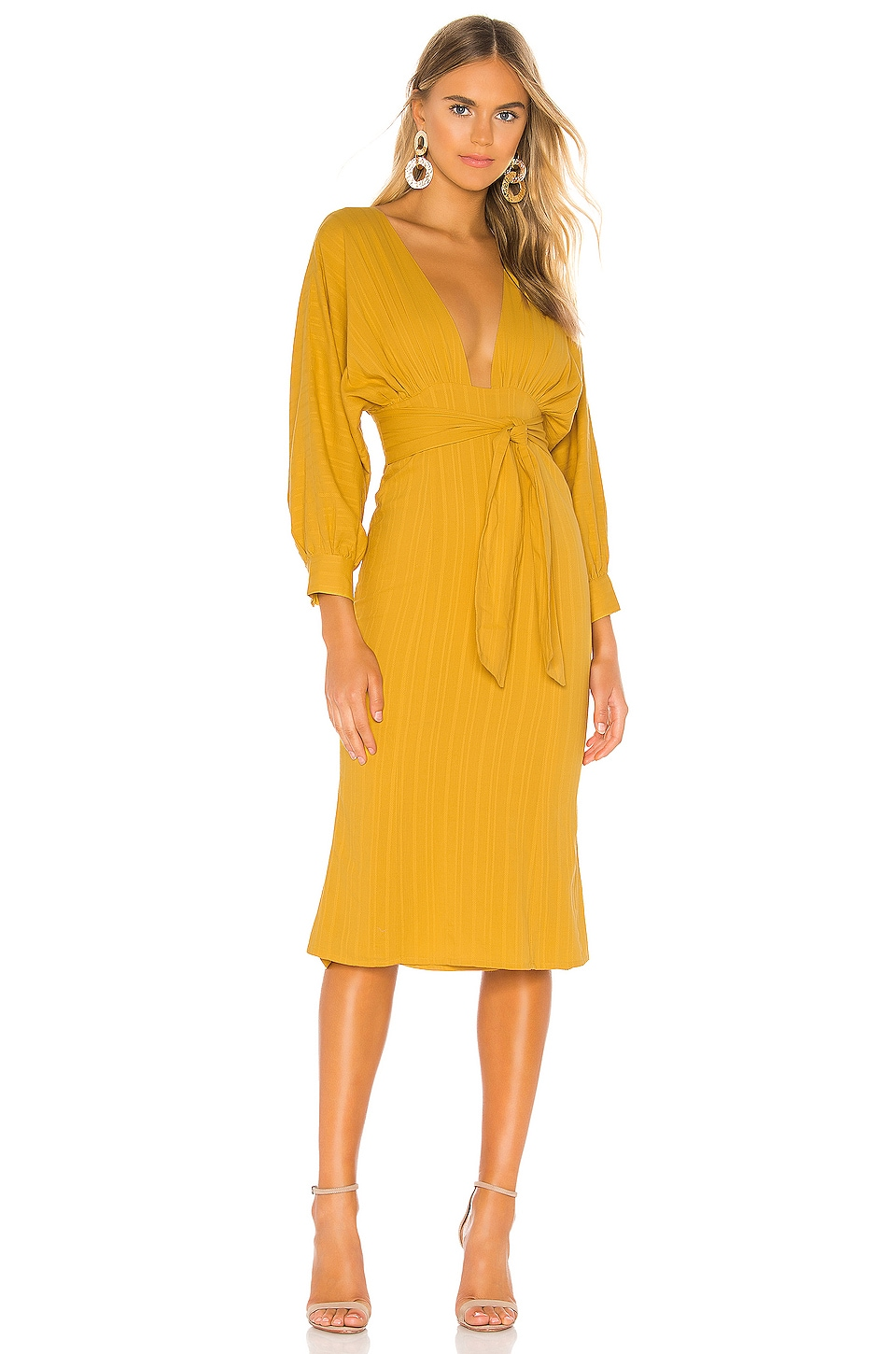 Tularosa Khyla Midi Dress in Mustard Yellow