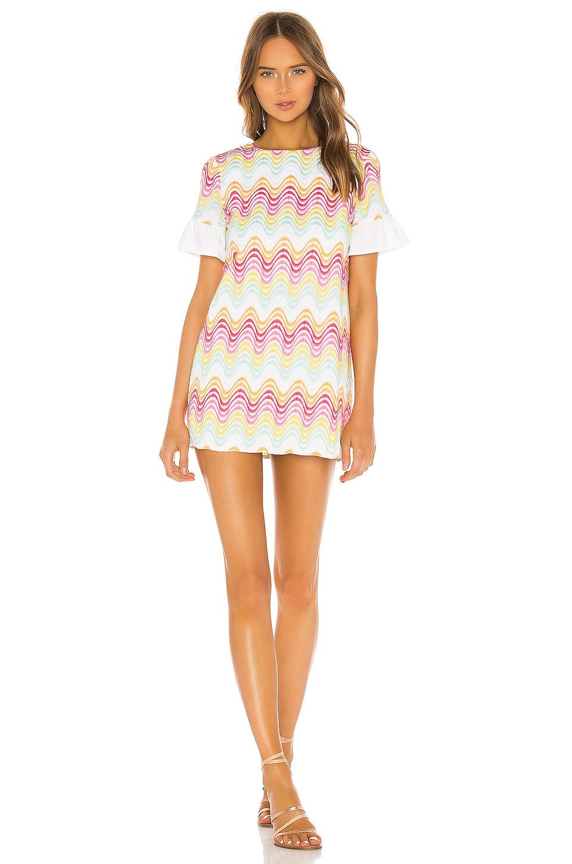 Tularosa Lexi Shift Dress in Pastel Rainbow