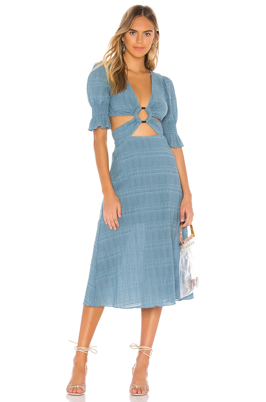 Tularosa Nanette Midi Dress in Dusty Blue